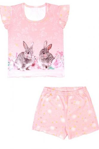 Пижама #269698Кролики на розовом+звездное небо на розовом с глиттером