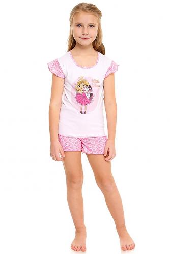 Пижама #284341Белый+кружево розовый