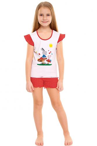 Пижама #288461Белый+белый горошек на красном 1