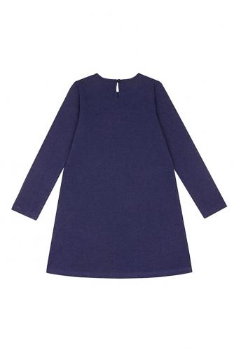 Платье #288460Ярко-синий132+клетка гусиная лапка мелкая на бежевом