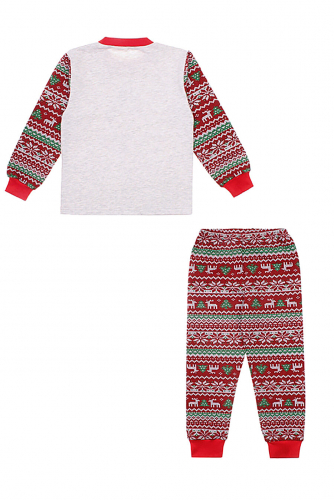 Пижама #250326Светло-серый+новогодний орнамент+красный91