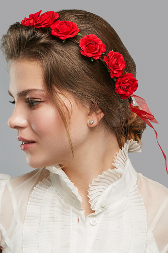 Веночек с розами Взгляд незнакомки #204923Красный, коричневый, зеленый