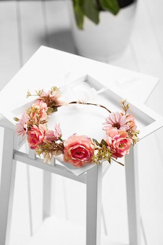 Веночек с розами и хризантемами Романтическая прогулка #195455Розовый, бледно-розовый, зеленый