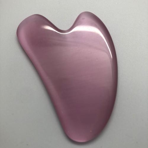 Массажер для лица - Гуаша «Скребок» сердце из Кошачьего глаза, цвет розовый