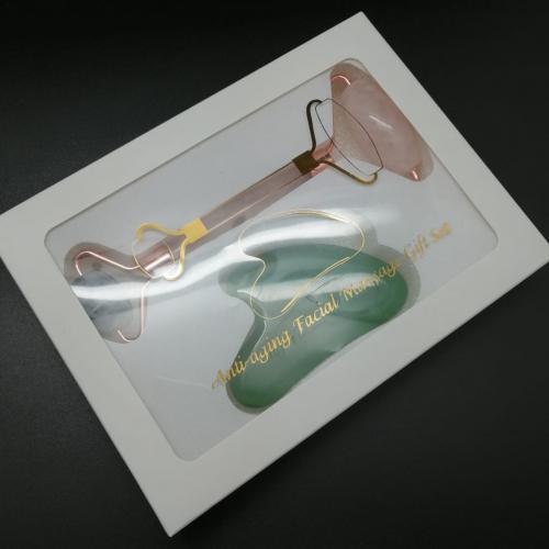 Подарочный набор Массажер для лица двусторонний из Аметиста и розового Кварца + скрапер из Нефрита