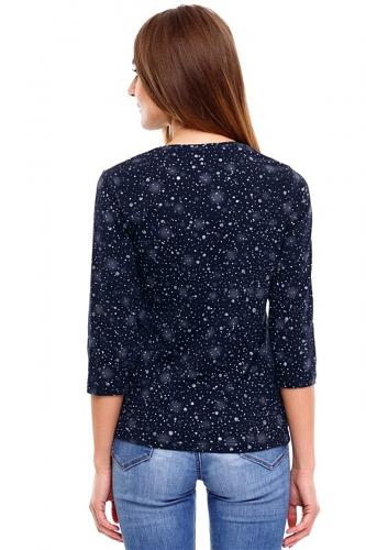Лонгслив #250335Звездное небо на темно-синем с глиттером