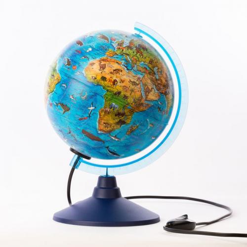 Глoбус зоогеографический (детский) «Классик Евро», диаметр 210 мм, с подсветкой