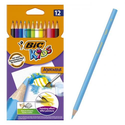 Цветные карандаши 12 цветов, детские, шестигранные, акварельные, BIC Kids Aquacouleur
