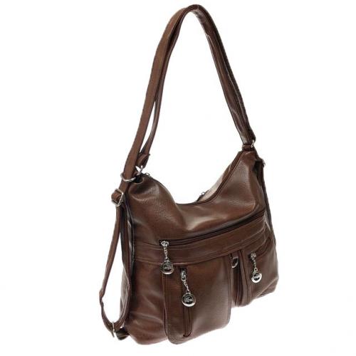 Функциональная сумка-рюкзак Fesso из качественной матовой эко-кожи цвета красного дерева.