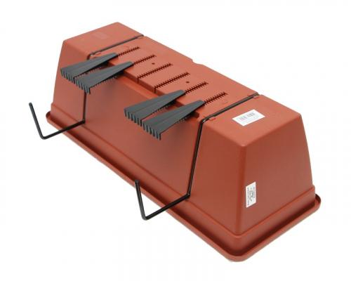 Ящик пластиковый для перил длина 50 см высота 16 см, коричневый,  Протэкт