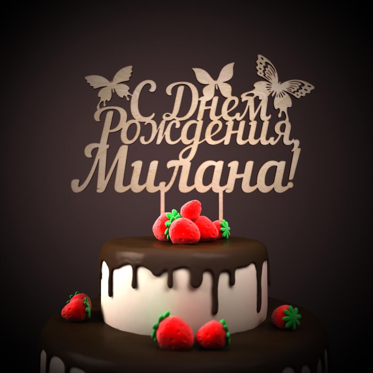 Надписями, открытка с днем рождения милану