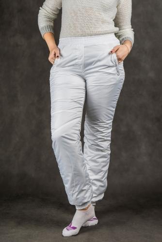 Брюки женские на манжетах по щиколотке (пояс резинка) синтепон Арт.2504 Белый