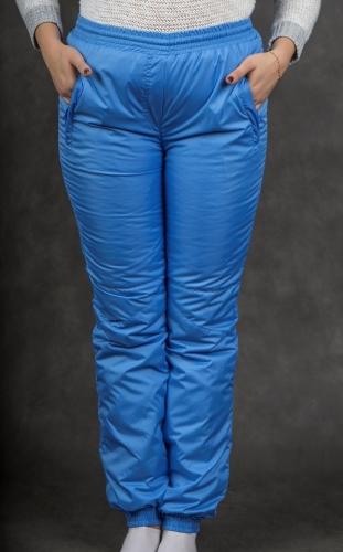 Брюки женские на манжетах по щиколотке (пояс резинка) синтепон Арт.2504 голубой