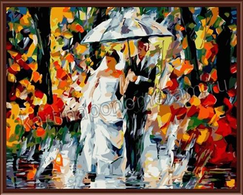 Молодожены под дождем