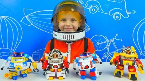 Машинка Robocar Poli Рой трансформер 10 см + костюм астронавта