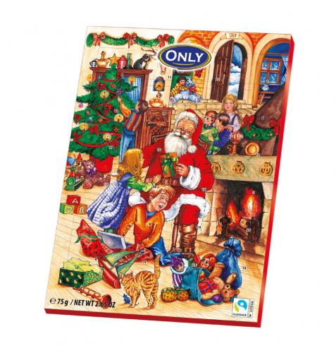 Шоколадный календарь ONLY Санта Клаус (красный) 75 гр