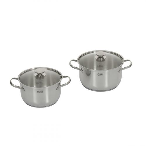 1523 GIPFEL Набор посуды ESSEN из 4 пр. (кастрюля 18х11см/2,8л с крышкой, кастрюля 20х12см/3,8л с крышкой),  с индукционным капсульным дном. Материал: нерж. сталь 18/10. Толщина: 0,4мм