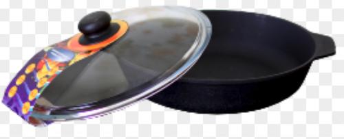 Сковорода чугунная 280/60-2-КТС со стеклянной крышкой