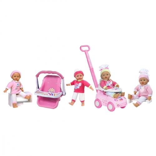 Кукла My Dolly Sucette, с каталкой, автокреслом и ходунками 98131