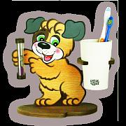 Настольные часы с подставкой для зубных щёток Собачка Бом
