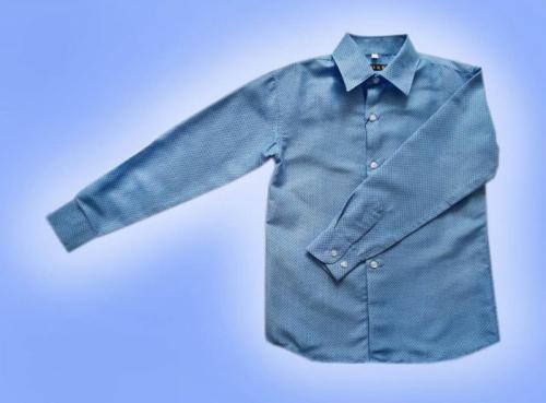 Рубашка д/м арт. РА-772 ярко голубая в горошек
