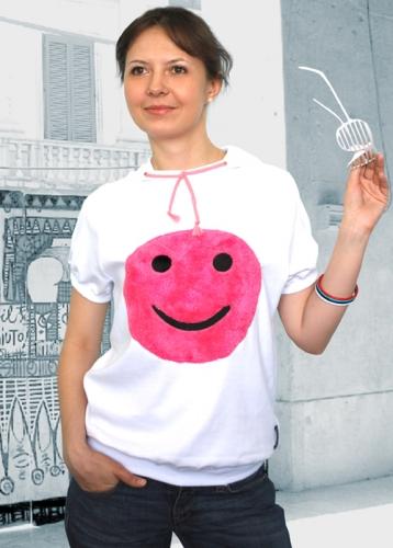 Улыбка, футболка женская (белая)