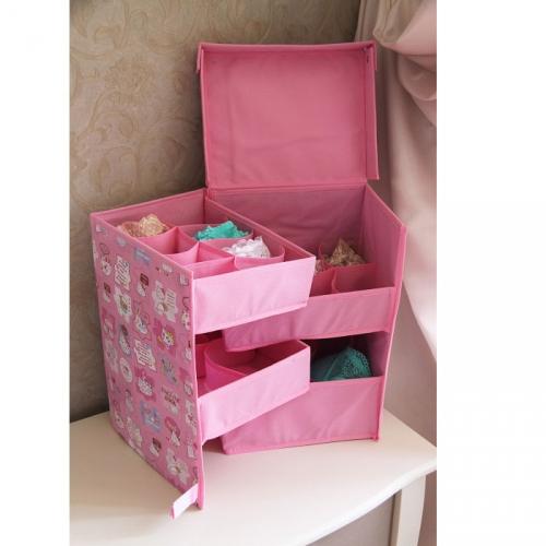 Органайзер складной с крышкой для нижнего белья ENGLISH BOOK (4 отсека, цвет розовый)