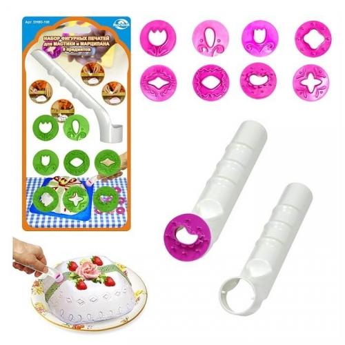 Набор фигурных печатей для мастики и марципана (9 предметов)