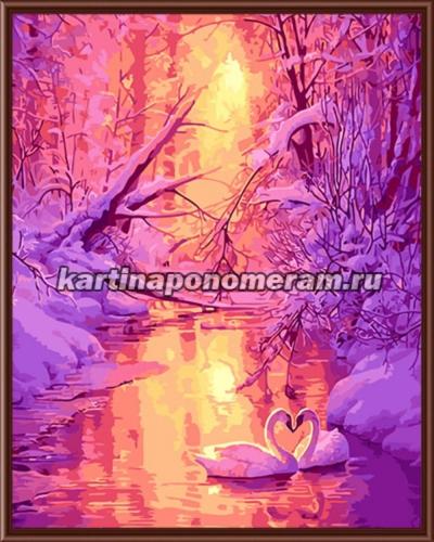 Лебеди на зимнем пруду