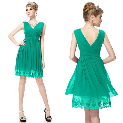 Зелёное платье с двойным V-образным вырезом
