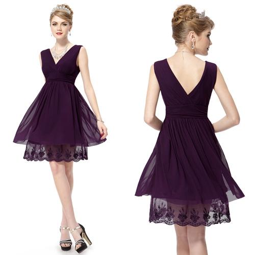 Пурпурное платье с двойным V-образным вырезом