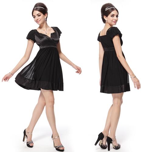 Чёрное платье с узором из бисера