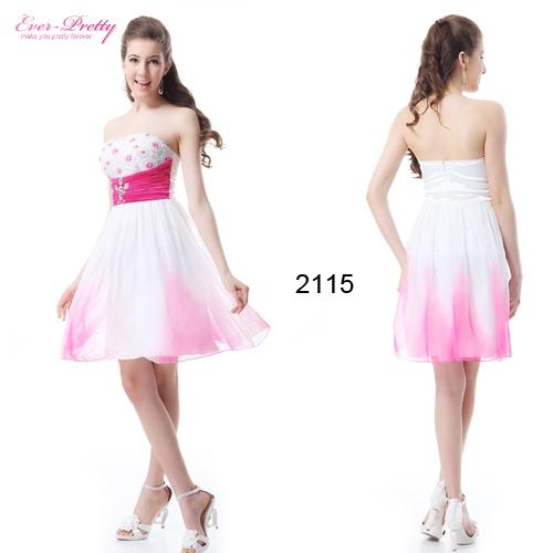Короткое бело-розовое платье со стразами