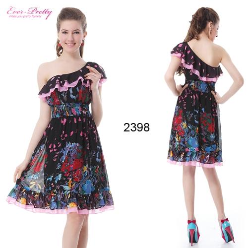 Платье с оборками разноцветным принтом