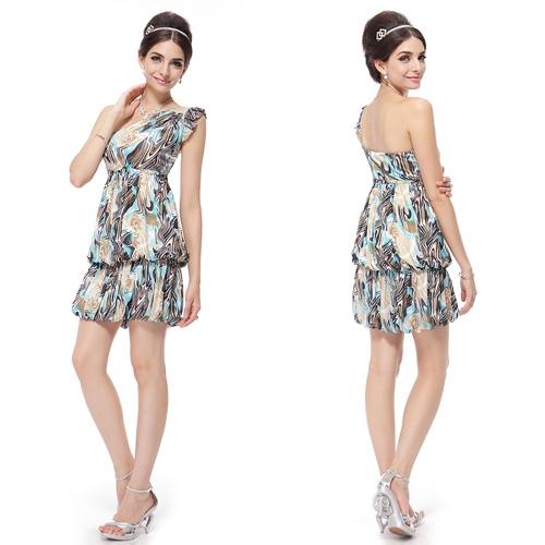 Стильное разноцветное платье-баллон
