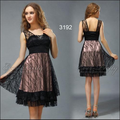 Черно-коричневое кружевное платье с блестками
