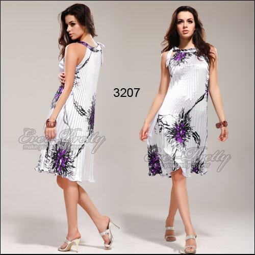 Плиссированное летнее платье с принтом