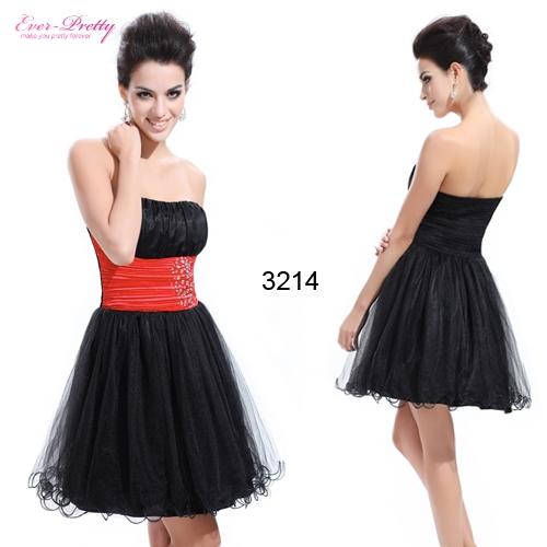 Черно-красное платье без бретелек с органзой и стразами