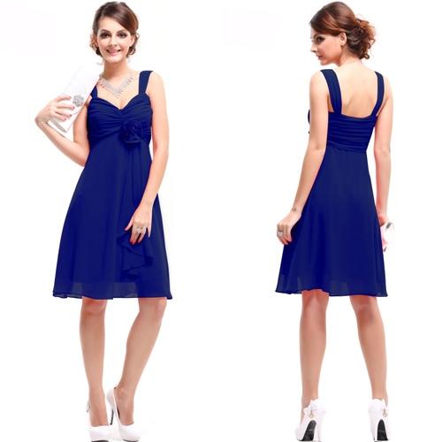 Изысканное синее платье в цветком
