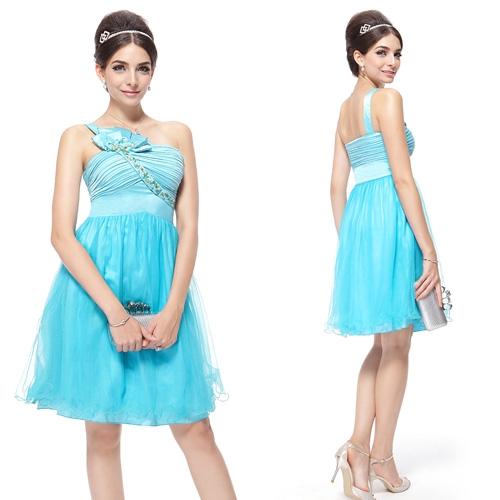 Голубое платье с цветком и кристаллами