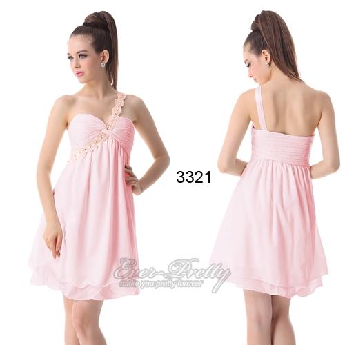 Нежное розовое платье на одно плечо