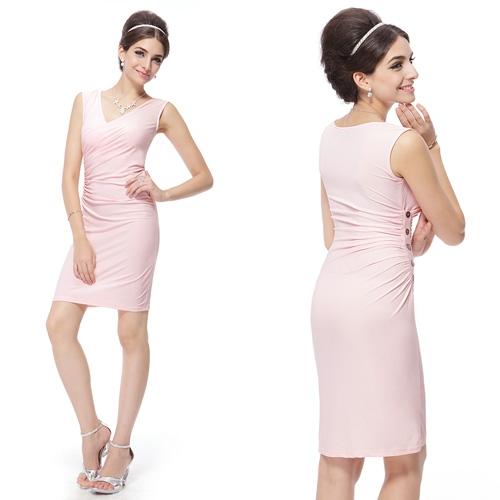 Розовое облегающее коктейльное платье