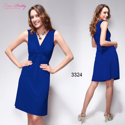 Синее эластичное платье