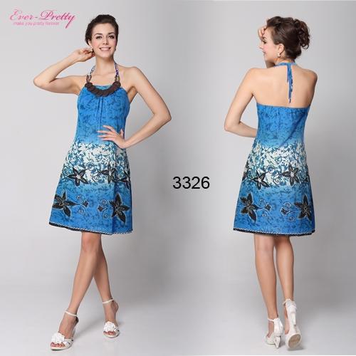 Повседневное синее платье с принтом