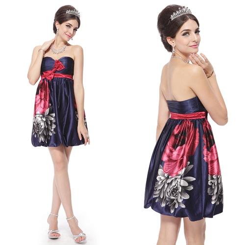 Синее платье баллон с цветами и бантом