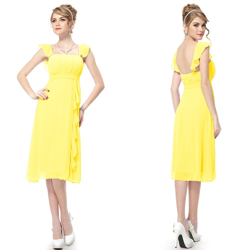 Нежно-желтое платье с оборками