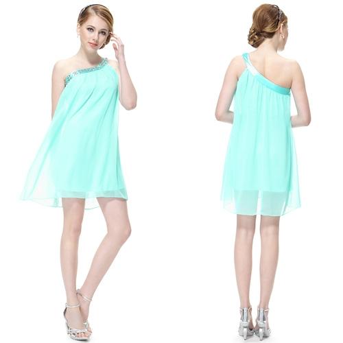 Бирюзовое платье на одно плечо с блестками