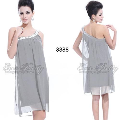 Серое платье на одно плечо с блестками