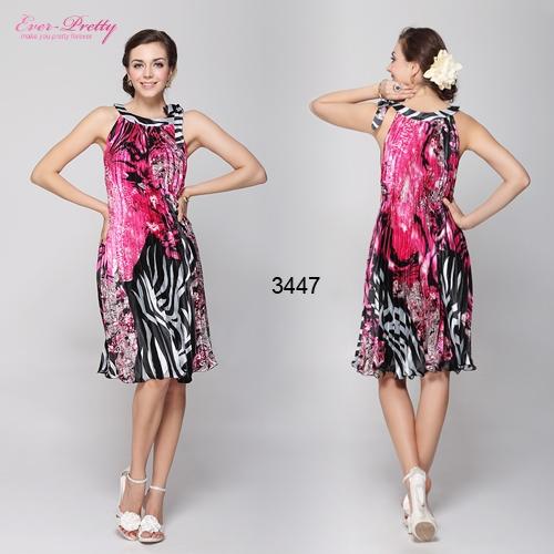 Плиссированное платье с ярким принтом