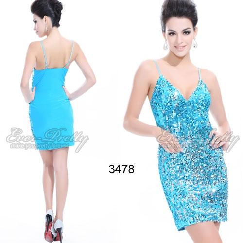 Голубое коктейльное платье с блестками